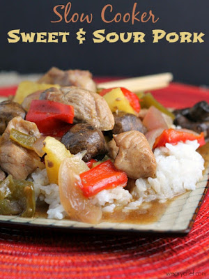 Slow Cooker Sweet and Sour Pork from The Weary Chef featured on SlowCookerFromScratch.com