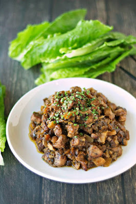 Slow Cooker Honey Garlic Chicken Lettuce Wraps from Slow Cooker Gourmet featured on SlowCookerFromScratch.com