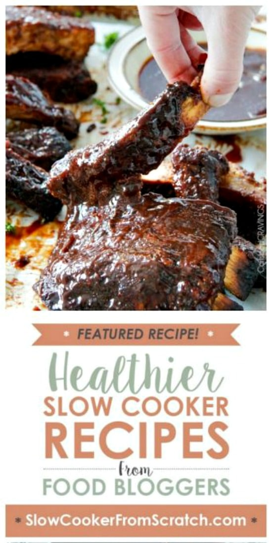 Fall Off The Bone Slow Cooker Barbecue Ribs from Carlsbad Cravings featured on Slow Cooker or Pressure Cooker at SlowCookerFromScratch.com