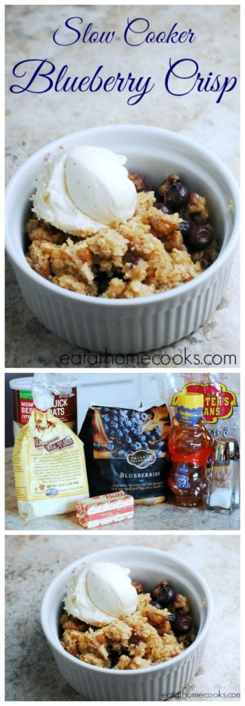 Slow Cooker Gluten-Free Blueberry Crisp from Eat at Home featured on SlowCookerFromScratch.com