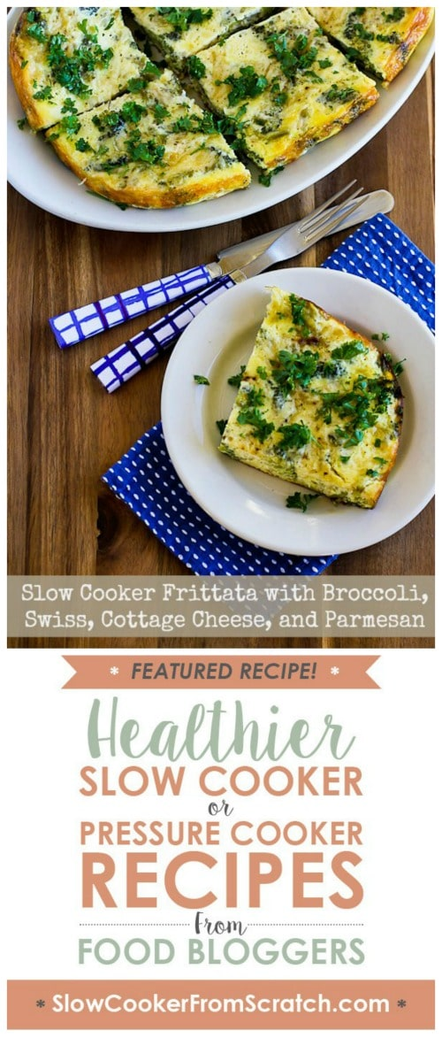 Slow Cooker Frittata with Broccoli, Swiss, Cottage Cheese, and Parmesan from Kalyn's Kitchen featured on Slow Cooker or Pressure Cooker at SlowCookerFromScratch.com