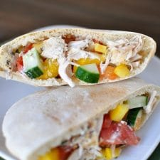 Slow Cooker Greek Chicken Pita Pockets from Mel's Kitchen Cafe