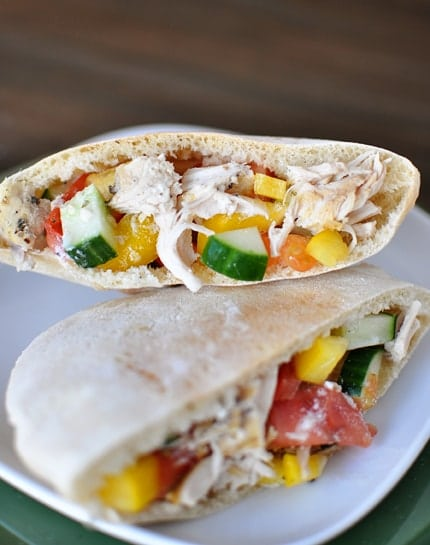 slow cooker greek chicken pita pockets from mels kitchen cafe featured on slow cooker or pressure - Mels Kitchen Cafe