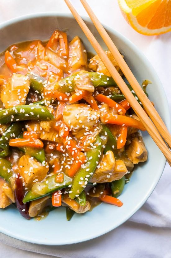 Pressure Cooker Orange Chicken Stir-Fry from Kitschen Cat featured in Four Fabulous Orange Chicken Recipes Your Family Will Love