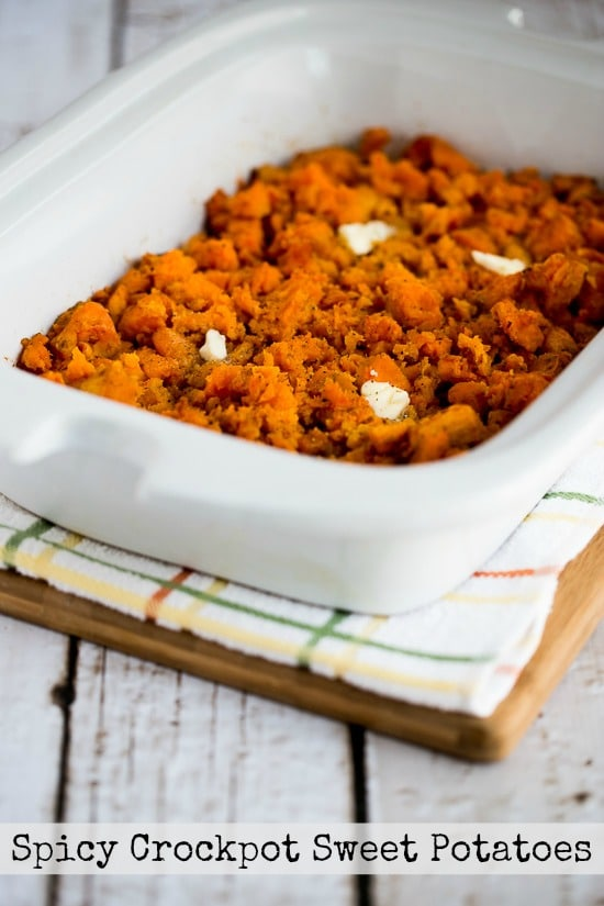Slow Cooker Spicy Sweet Potatoes Recipe from Kalyn's Kitchen found on SlowCookerFromScratch.com