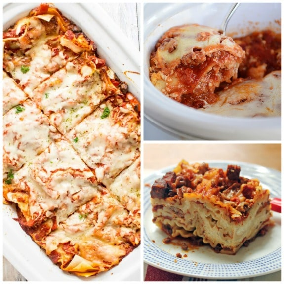 The BEST Slow Cooker Lasagna Recipes featured on Slow Cooker or Pressure Cooker at SlowCookerFromScratch.com