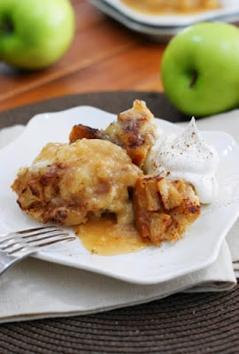 Slow Cooker Apple Pudding Cake from The Kitchen is My Playground featured on SlowCookerFromScratch.com