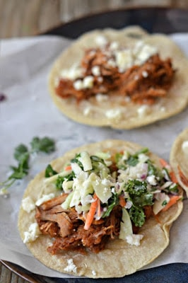 BBQ Pulled Pork Tacos from Mountain Mama Cooks featured on SlowCookerFromScratch.com