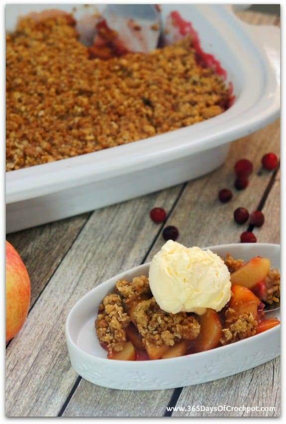 Slow Cooker Cranberry Apple Crisp from 365 Days of Slow Cooking featured for Casserole Crock Saturdays on SlowCookerFromScratch.com