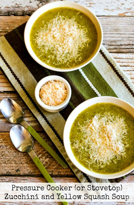 Zucchini and Yellow Squash Soup with Rosemary and Parmesan from Kalyn's Kitchen