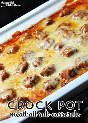 Crock Pot Meatball Sub Casserole from Recipes that Crock featured for Casserole Crock Saturdays on SlowCookerFromScratch.com
