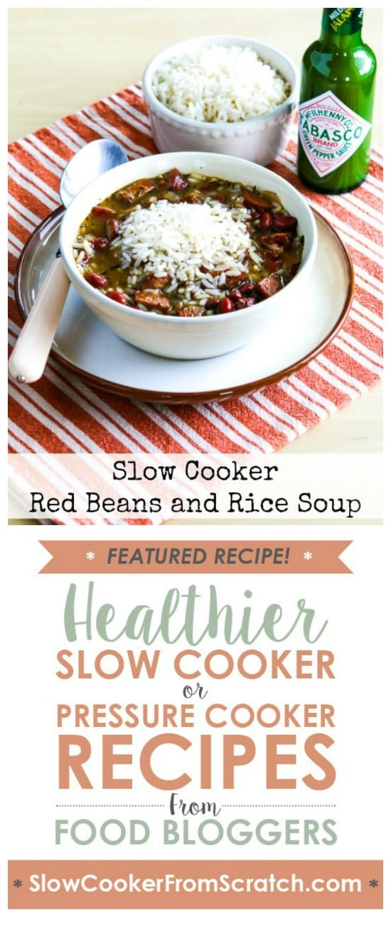 Slow Cooker Red Beans and Rice Soup from Kalyn's Kitchen featured on Slow Cooker or Pressure Cooker at SlowCookerFromScratch.com