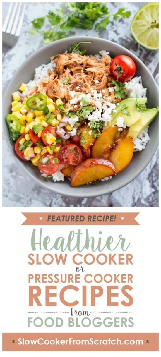 Slow Cooker Peach Jalapeno Chicken Bowls from Slow Cooker Gourmet featured on Slow Cooker or Pressure Cooker at SlowCookerFromScratch.com