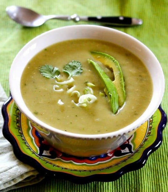 Instant Pot Vegan Chayote Green Chile Soup from Letty's Kitchen