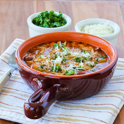 Slow Cooker Vegetarian Pasta e Fagioli Soup with Whole Wheat Orzo from Kalyn's Kitchen featured on SlowCookerFromScratch.com
