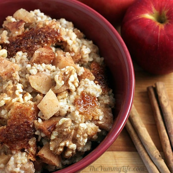 Overnight Slow Cooker Apple Cinnamon Steel-Cut Oatmeal from The Yummy Life featured on Slow Cooker or Pressure Cooker at SlowCookerFromScratch.com