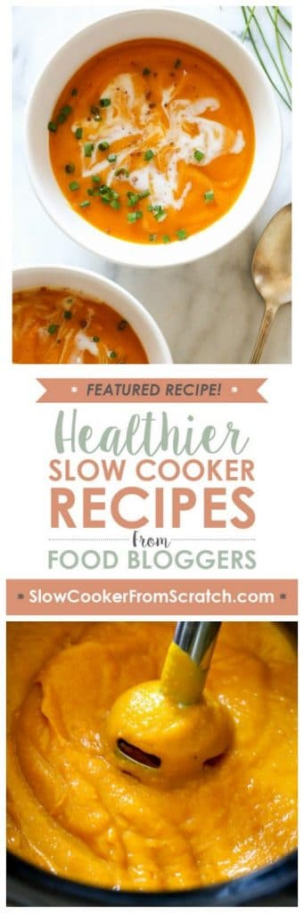 Slow Cooker Blissful Butternut Squash Soup from Skinnytaste featured on SlowCookerFromScratch.com