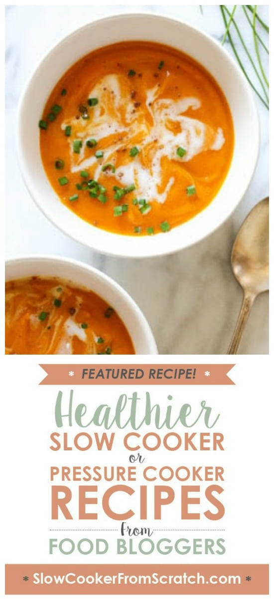 Slow Cooker Blissful Butternut Squash Soup from Skinnytaste featured on Slow Cooker or Pressure Cooker at SlowCookerFromScratch.com