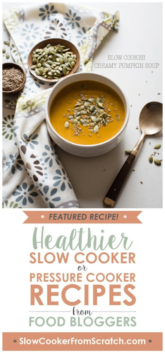 Slow Cooker Creamy Pumpkin Soup from Cafe Johnsonia featured on Slow Cooker or Pressure Cooker at SlowCookerFromScratch.com