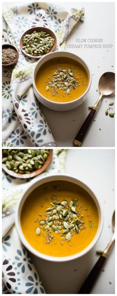 Slow Cooker Creamy Pumpkin Soup from Cafe Johnsonia found on SlowCookerFromScratch.com