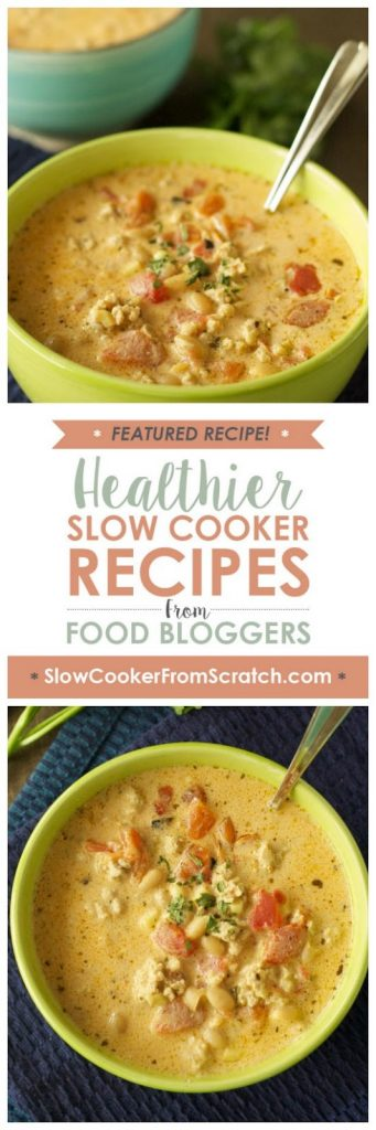 Slow Cooker Buffalo Chicken Chili from Slow Cooker Gourmet featured on SlowCookerFromScratch.com