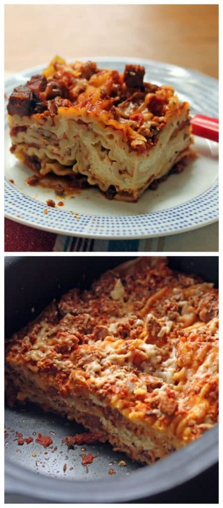 Slow Cooker Sausage And Four Cheese Lasagna From The
