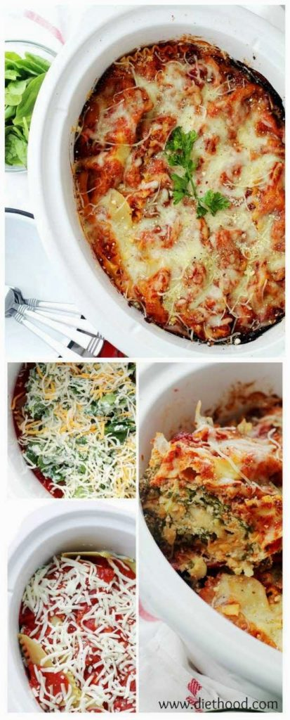 Spinach and Feta Crock Pot Lasagna from Diethood found on SlowCookerFromScratch.com