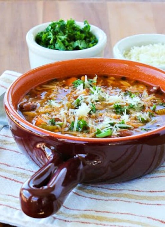 Slow Cooker Vegetarian Pasta e Fagioli Soup with Whole Wheat Orzo from Kalyn's Kitchen.