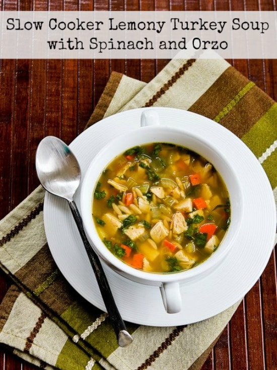 Lemony Turkey (or Chicken) Soup with Spinach and Orzo from Kalyn's Kitchen