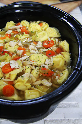 Chunky Slow Cooker Tortellini Chicken Noodle Soup from Carlsbad Cravings