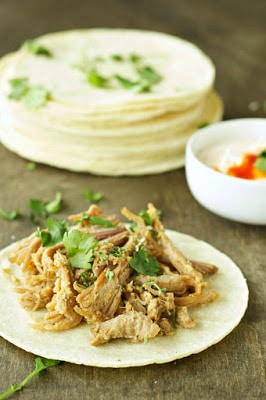 Slow Cooker Pork Tacos With Adobo Sour Cream from Slow Cooker Gourmet featured on SlowCookerFromScratch.com