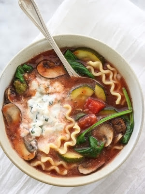 Slow Cooker Vegetarian Lasagna Soup from Foodie Crush