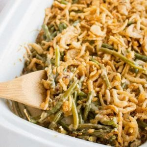 Slow Cooker Green Bean Casserole from Slow Cooker Gourmet featured on Slow Cooker or Pressure Cooker at SlowCookerFromScratch.com