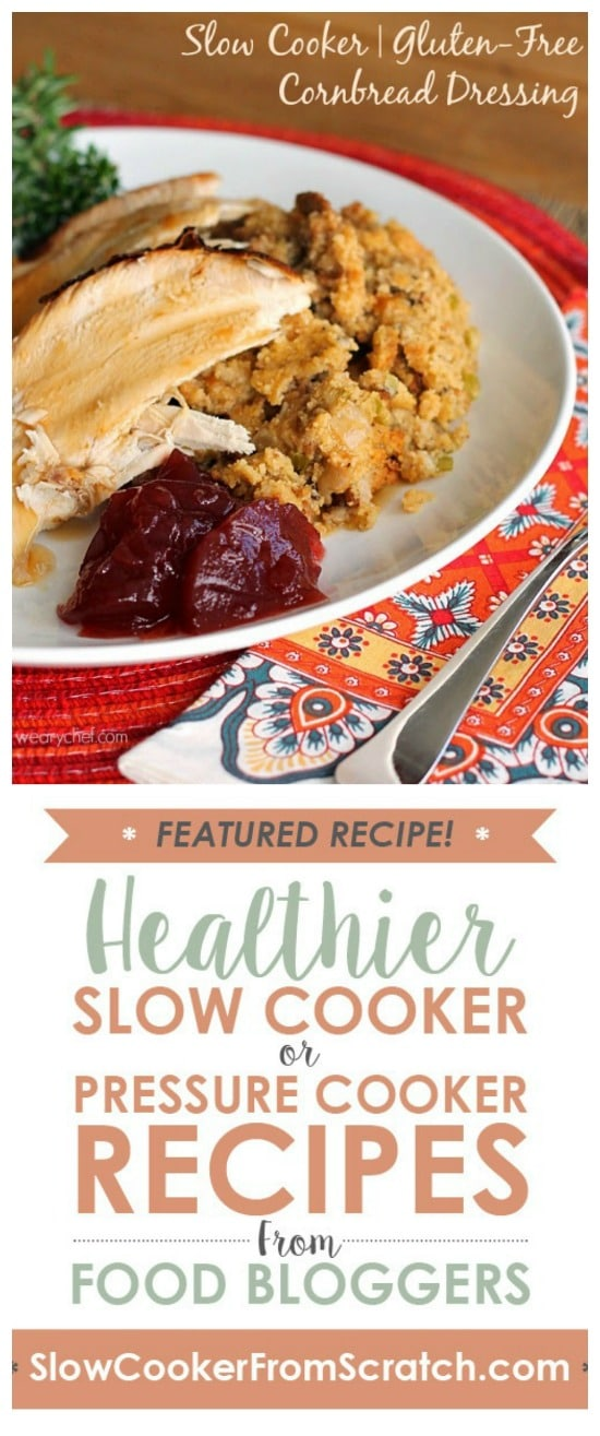 Slow Cooker Gluten-Free Cornbread Dressing (Stuffing) from The Weary Chef featured on Slow Cooker or Pressure Cooker at SlowCookerFromScratch.com