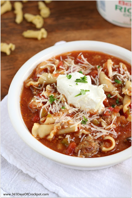 Easy Slow Cooker Lasagne Soup from 365 Days of Slow Cooking