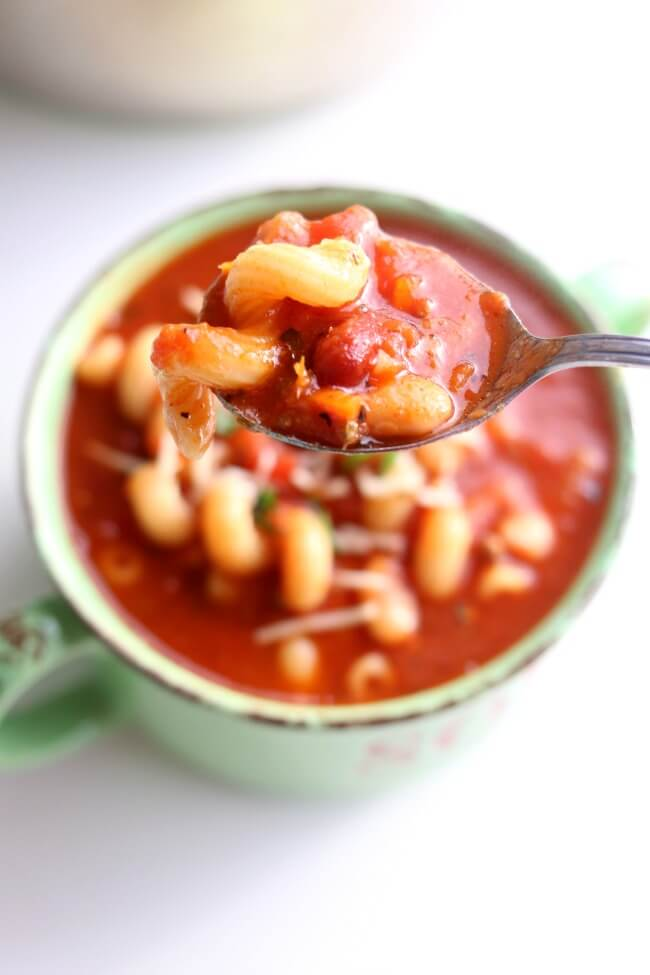 Slow Cooker Copycat Olive Garden Pasta e Fagioli Soup from 365 Days of Slow + Pressure Cooking