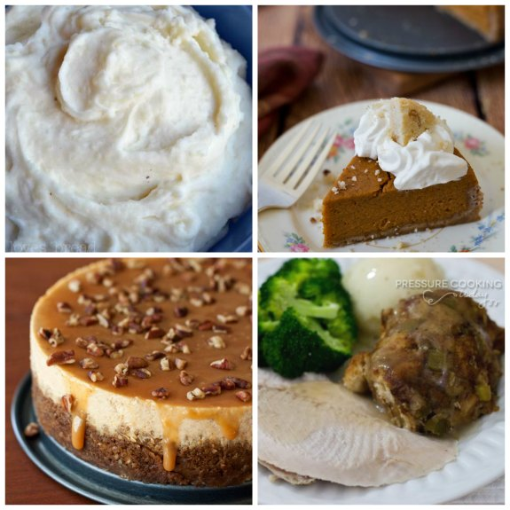 50+ Recipes for a Slow Cooker (or Instant Pot) Thanksgiving featured on Slow Cooker or Pressure Cooker at SlowCookerFromScratch.com