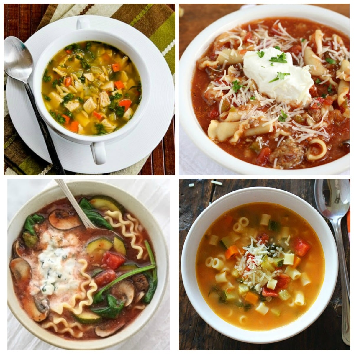 The BEST Slow Cooker Soups with Pasta collage photo