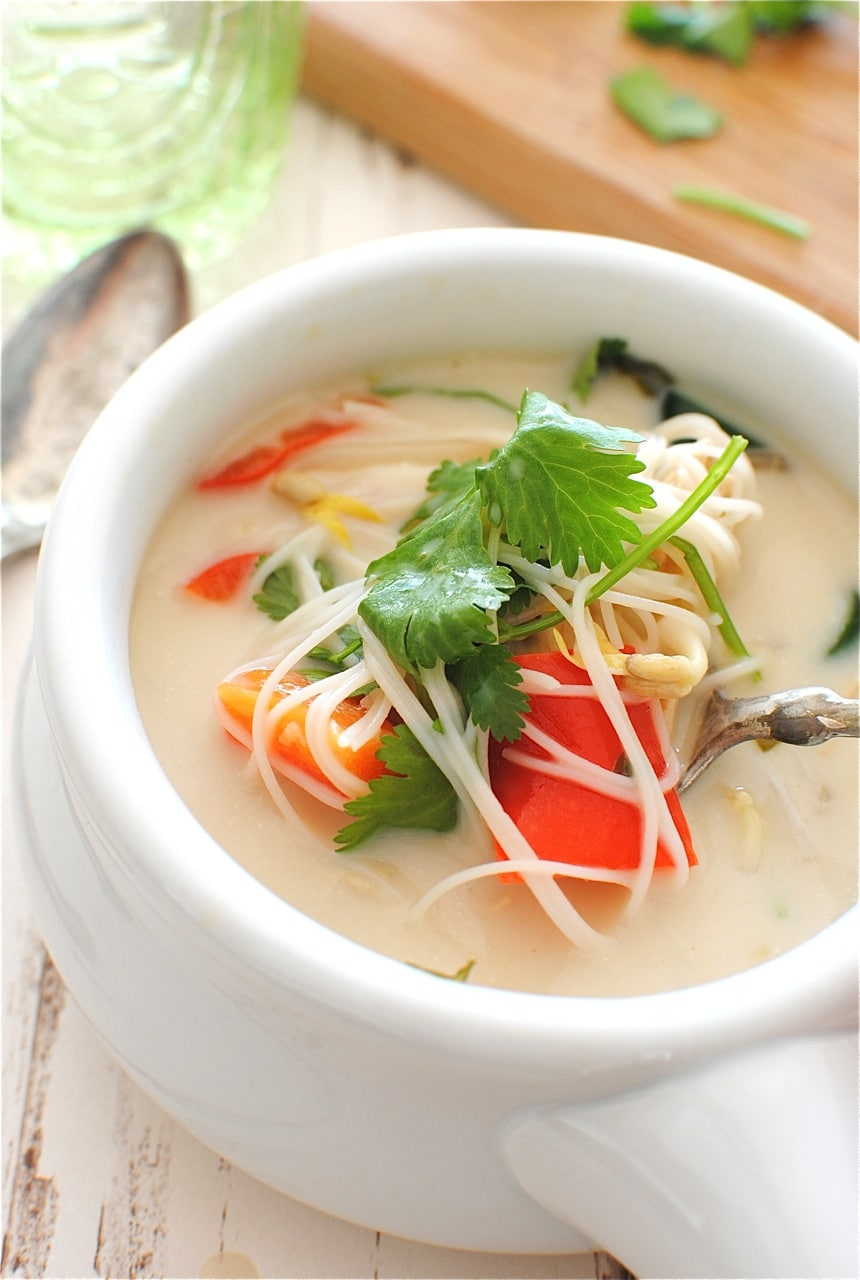 Slow Cooker Thai Chicken Noodle Soup from Bev Cooks.