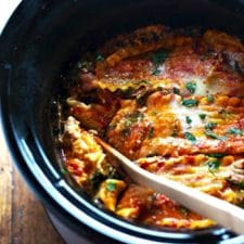 Super Easy Skinny Veggie CrockPot Lasagna from Pinch of Yum featured on Slow Cooker or Pressure Cooker at SlowCookerFromScratch.com