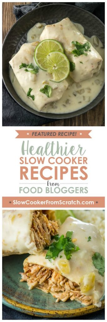 Slow Cooker Smothered Chicken Burritos from Slow Cooker Gourmet featured on SlowCookerFromScratch.com