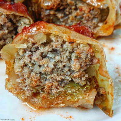 Slow Cooker Paleo Cabbage Rolls from Fit Slow Cooker Queen featured on SlowCookerFromScratch.com