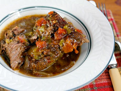 Low-Carb Slow Cooker Tex-Mex Pot Roast from The Perfect Pantry featured on SlowCookerFromScratch.com