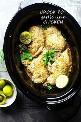 Crock Pot Garlic Lime Chicken from Diethood featured on Slow Cooker or Pressure Cooker at SlowCookerFromScratch.comm