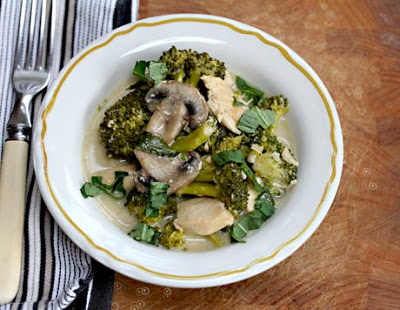 Slow Cooker Thai Green Curry Chicken with Broccoli and Mushrooms from The Perfect Pantry found on SlowCookerFromScratch.com