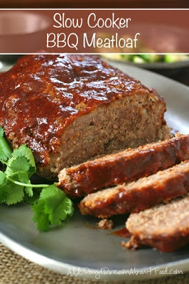 Low-Carb Slow Cooker Barbecue Meatloaf from All Day I Dream About Food featured on Slow Cooker or Pressure Cooker at SlowCookerFromScratch.com