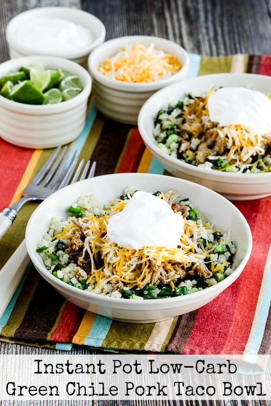 Instant Pot (or Slow Cooker) Low-Carb Green Chile Pork Taco Bowl from Kalyn's Kitchen [featured on SlowCookerFromScratch.com]
