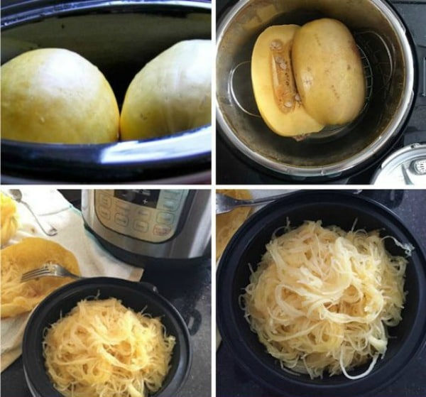 How to Make CrockPot or Instant Pot Spaghetti Squash found on Slow Cooker or Pressure Cooker