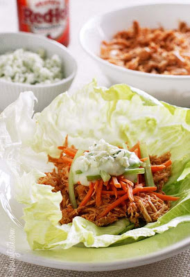 Slow Cooker or Instant Pot Buffalo Chicken Lettuce Wraps from Skinnytaste featured on Slow Cooker or Pressure Cooker at SlowCookerFromScratch.com