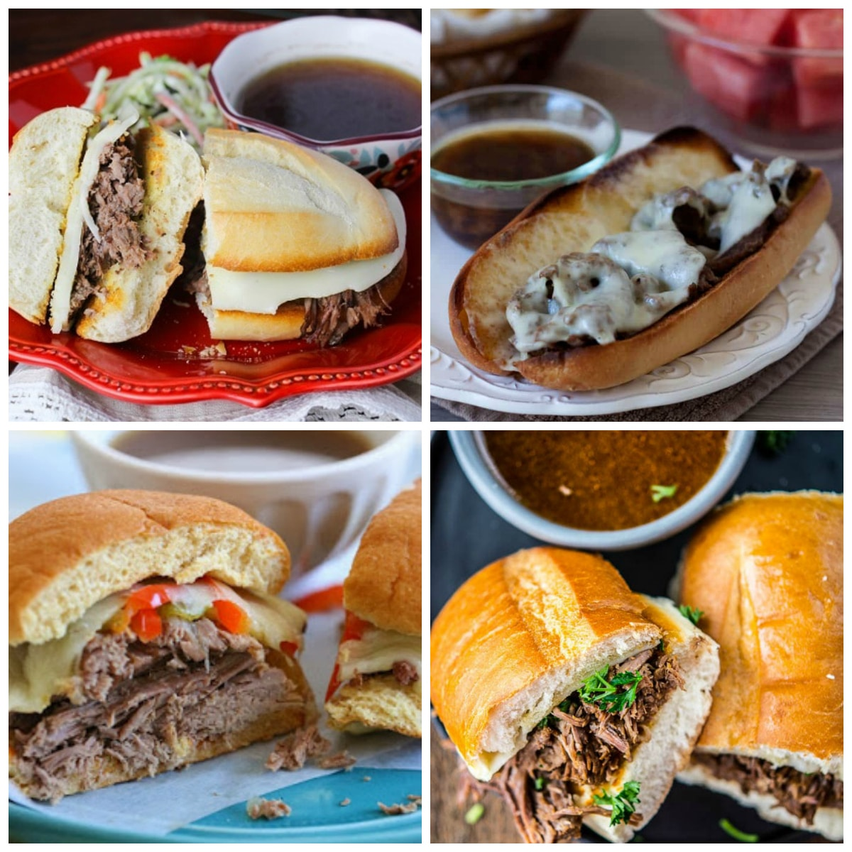 Slow Cooker or Instant Pot French Dip Sandwich Recipes top collage
